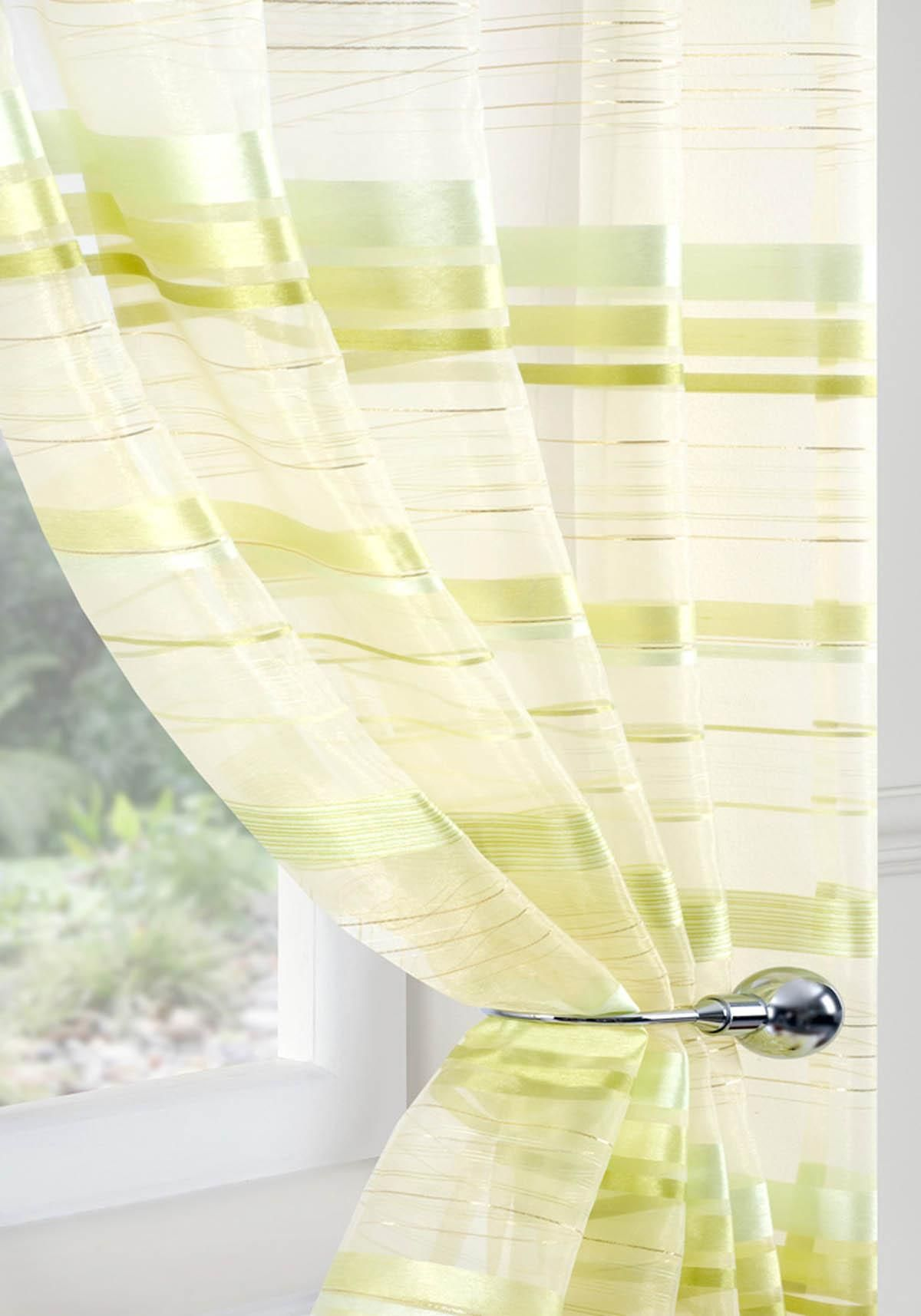Metropole Voile Curtain Panel Green