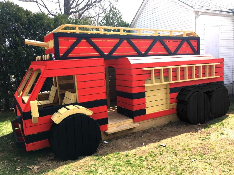 Wooden red firetruck playhouse for kids