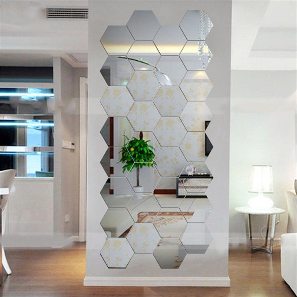 Hexagonal 3D Mirrors Wall Stickers Home Decor Living Room Mirror ...