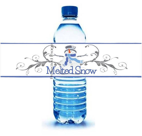 Instant Download Printable Snowman Melted Snow Water Bottle
