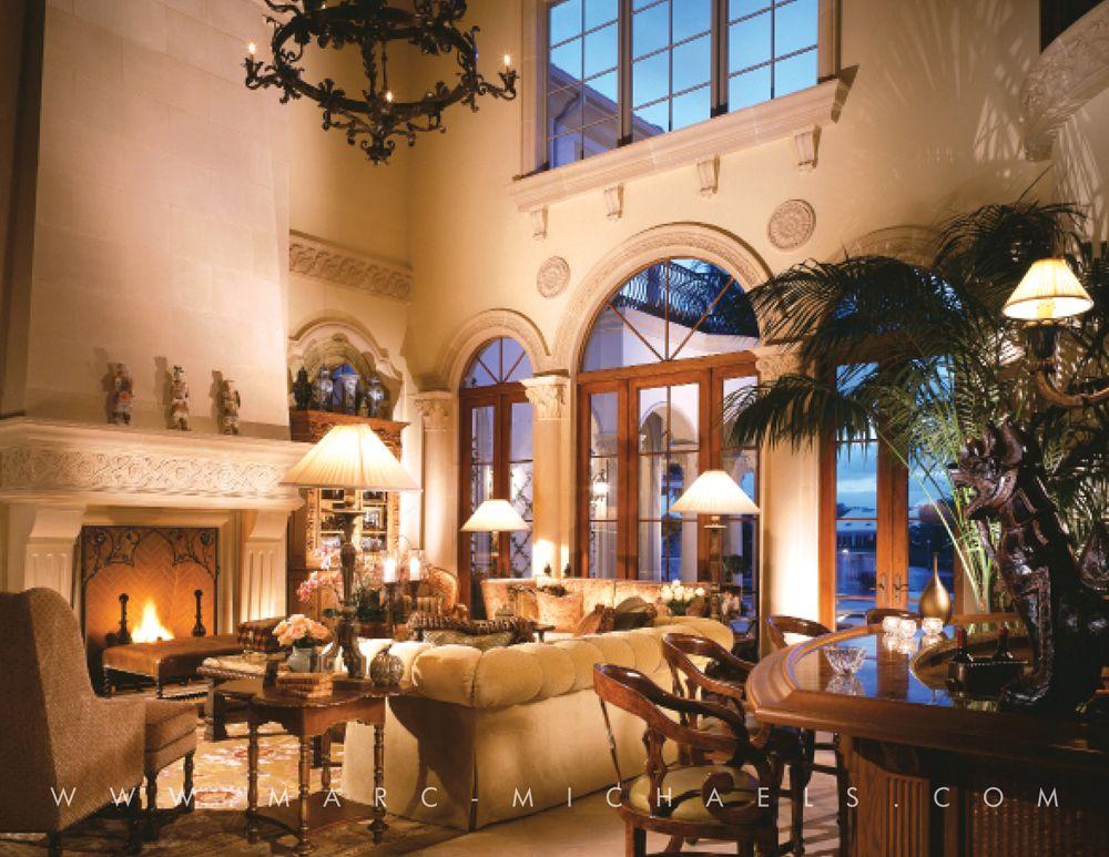 Classic mediterranean living room stone fireplace wooden for Classic mediterranean house