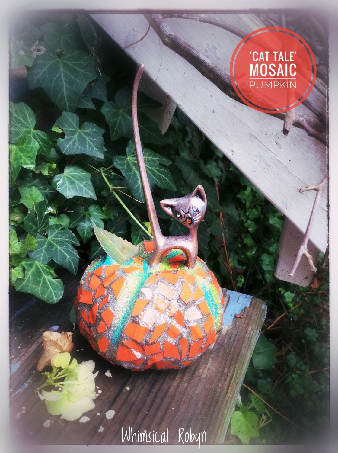 Mosaic pumpkin,Halloween decor, fall pumpkin,Kitty on pumpkin,Cat - Whimsical Halloween Decorations