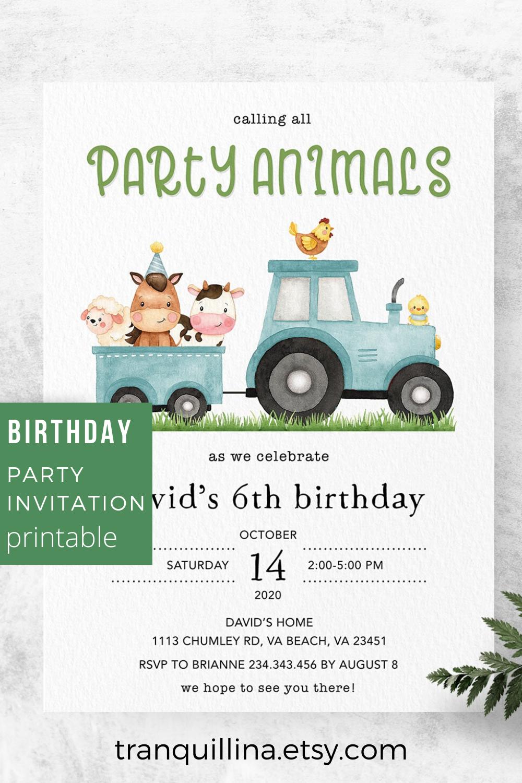 farm birthday invitation boy barnyard
