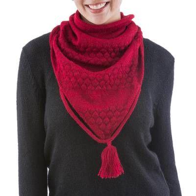 Photo of 100% alpaca neck warmer, 'Scarlet Warmth'
