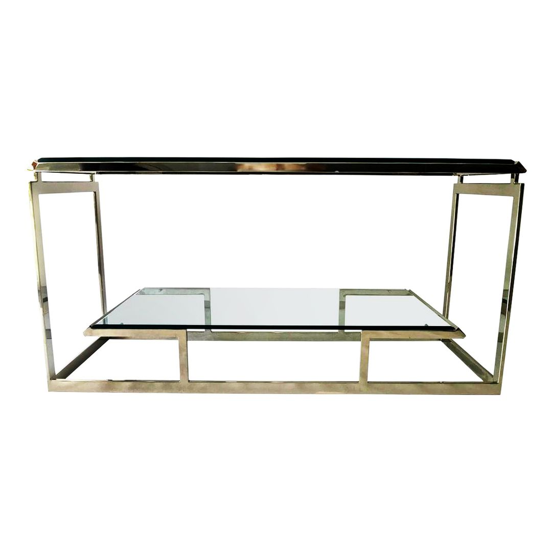 Glass console table decor  Mid Century Chrome and Glass Console Table Manner of Romeo Rega