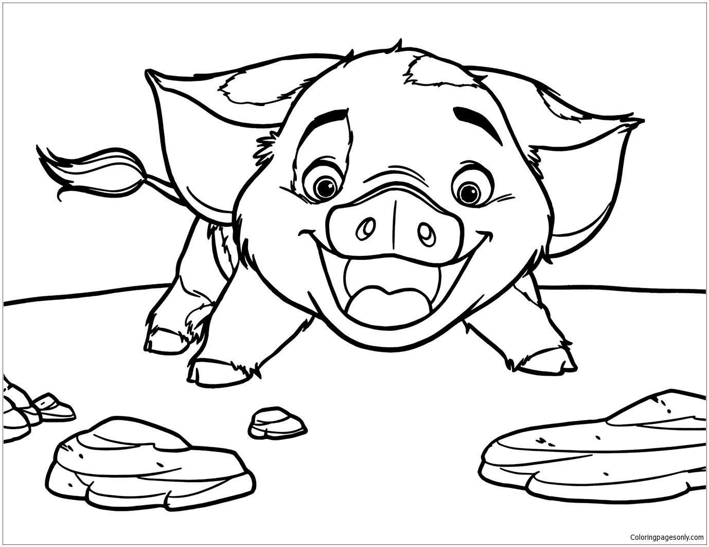 Pua Pig From Moana 5 Coloring Page | Moana Coloring Pages ...