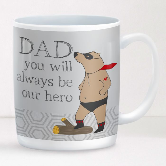 Personalised Dad Mug Superbear - a delightful and practical gift that will be used every day! A great present for Father's Day. #Dad #fathersday #dadmug #personalised #giftwrappedandgorgeous