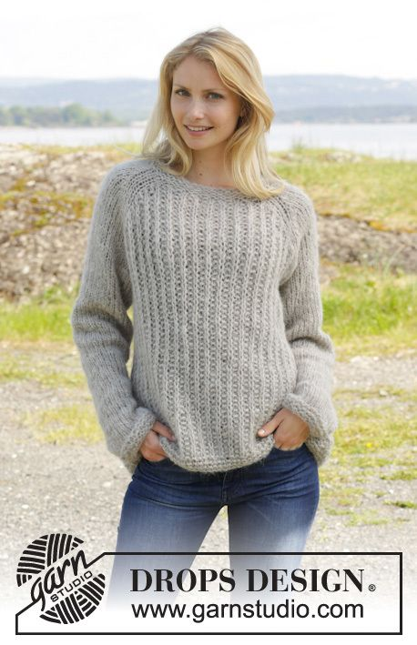 Drops Pattern 157-20, Knitted jumper with raglan and false ...