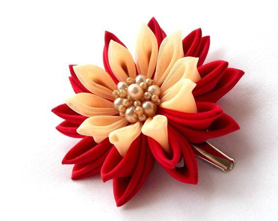 Red Lotus Hair Clip Tsumami Kanzashi Hair by ScarlettandMaria