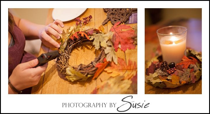 Small Fall DIY Wreath as Candle holder, photo courtesy of Photography by Susie