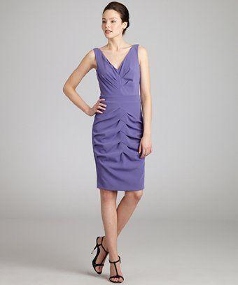 Nicole Miller lilac satin crepe sleeveless dress