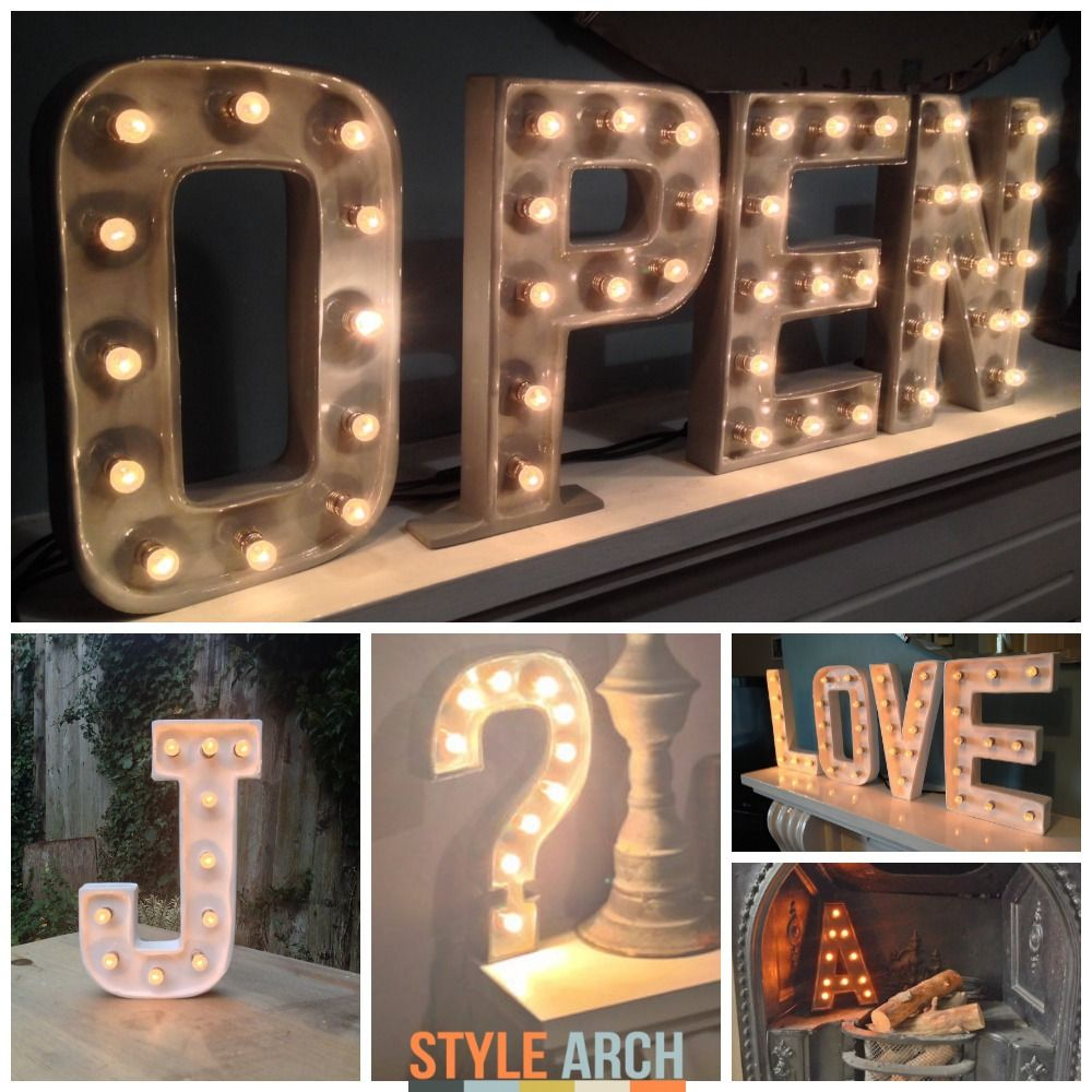 marquee letter lights to install on reclaimed wall shelves over kitchen cabinetry to
