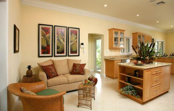 Wohnzimmer und Küche in einem Raum kombiniert einrichtung design - wohnzimmer kuche design