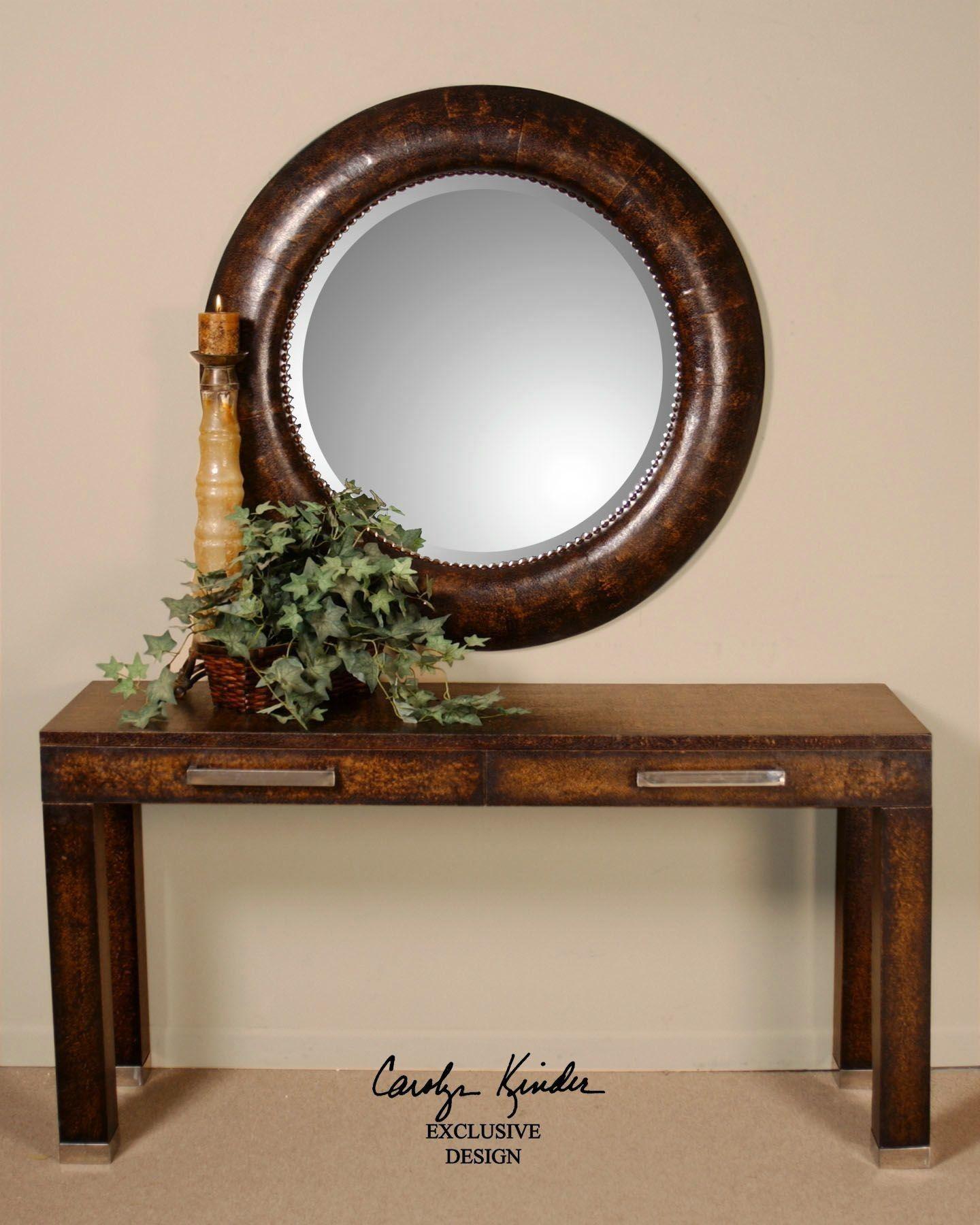 Leather Leonizio Beveled Mirror | Round mirror decor ...