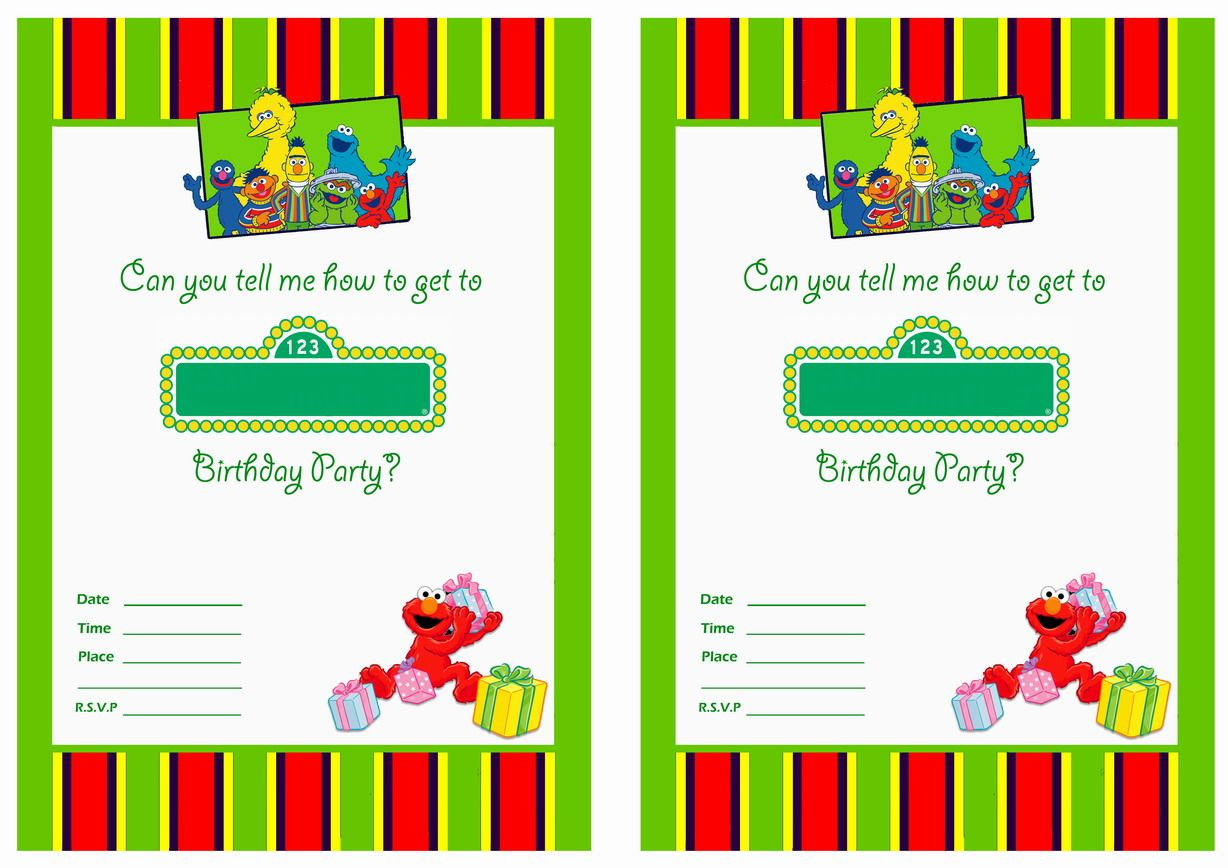 Get FREE Printable Sesame Street 1st Birthday Invitations Templates