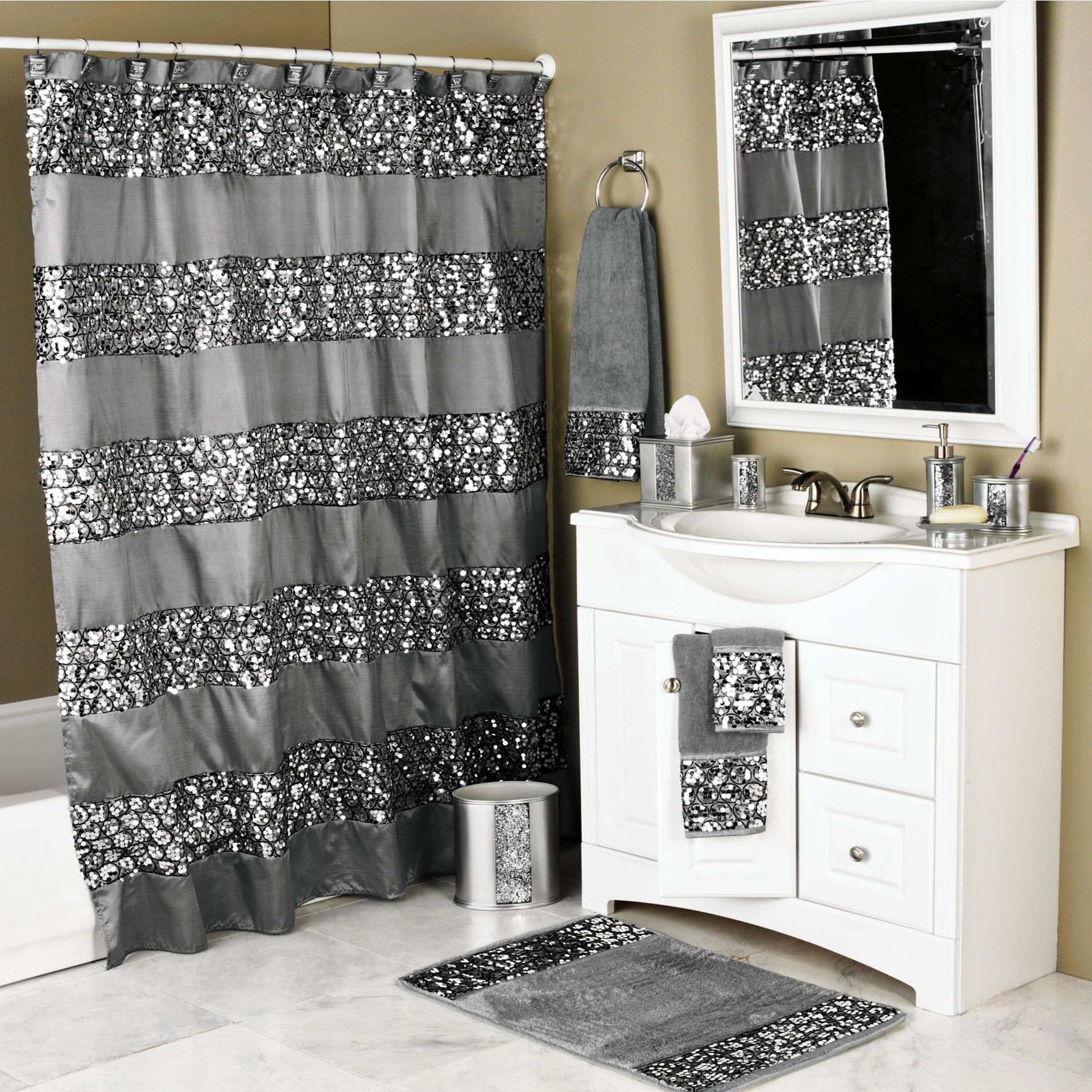 Luxury Shower Curtain And Hook Set Silver Polyester Solid Color