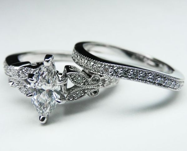 engagement ring marquise diamond butterfly vintage engagement ring setting matching wedding band 016 tcw - Wedding Ring Settings