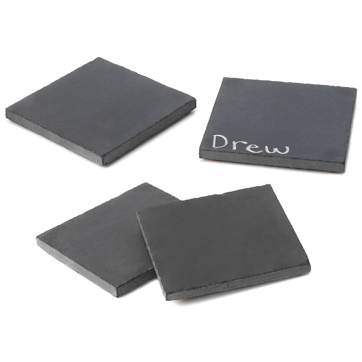 RECLAIMED SLATE COASTERS - SET OF 4 | Recycled Chalkboards, Black Coasters | UncommonGoods