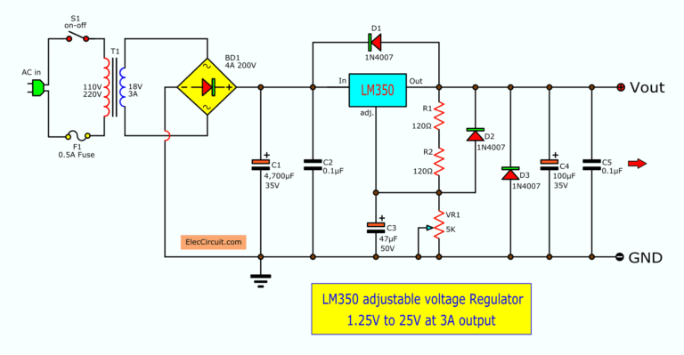 Lm350 Adjustable Voltage Regulator Eleccircuit Com Voltage Regulator Power Supply Circuit Circuit Diagram