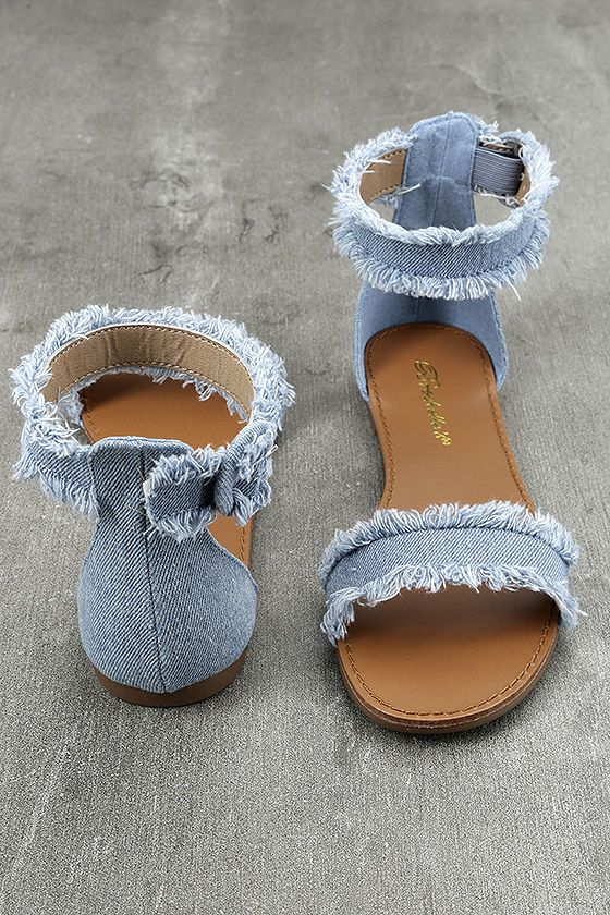 770ea9dee92 Take the Antares Blue Denim Flat Sandals out for a stroll on a sunny day!