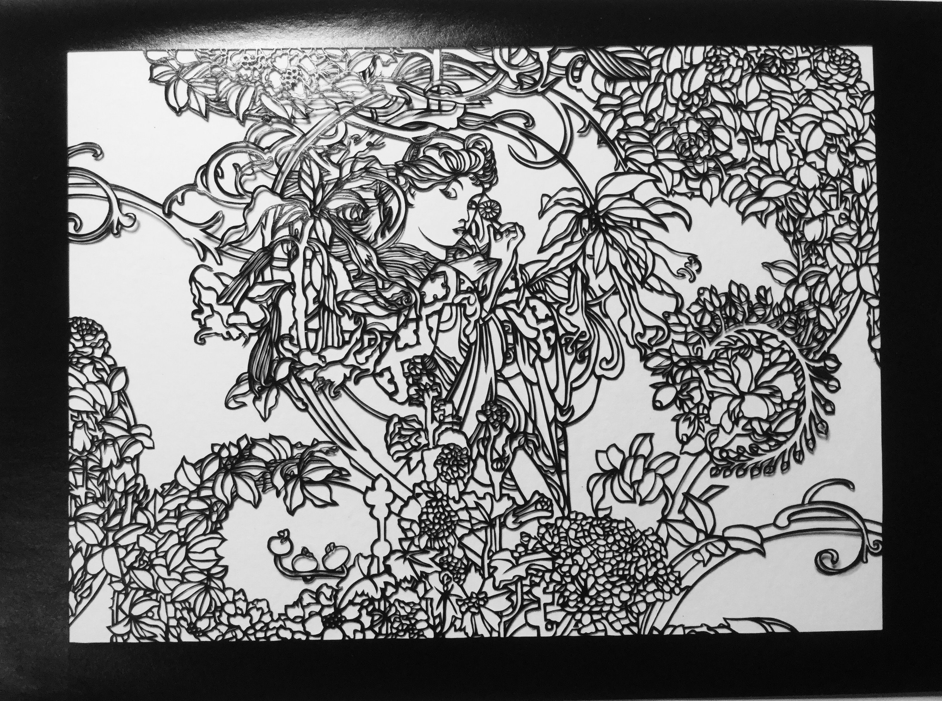 Finished Cut Of This Public Domain Alphonse Mucha Wip Alphonse Mucha Paper Cut Femme A La