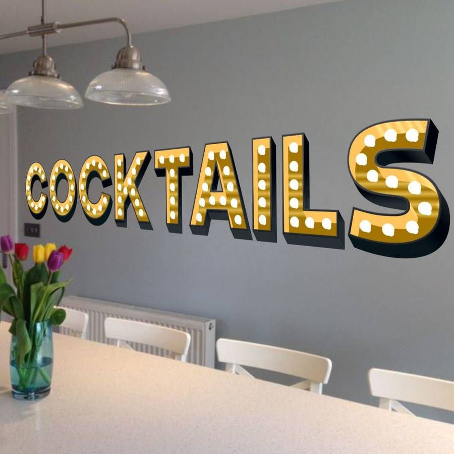 Light Up Letters For Wall Extraordinary Cocktails Light Up Letters Effect Wall Sticker  Wall Sticker Decorating Design