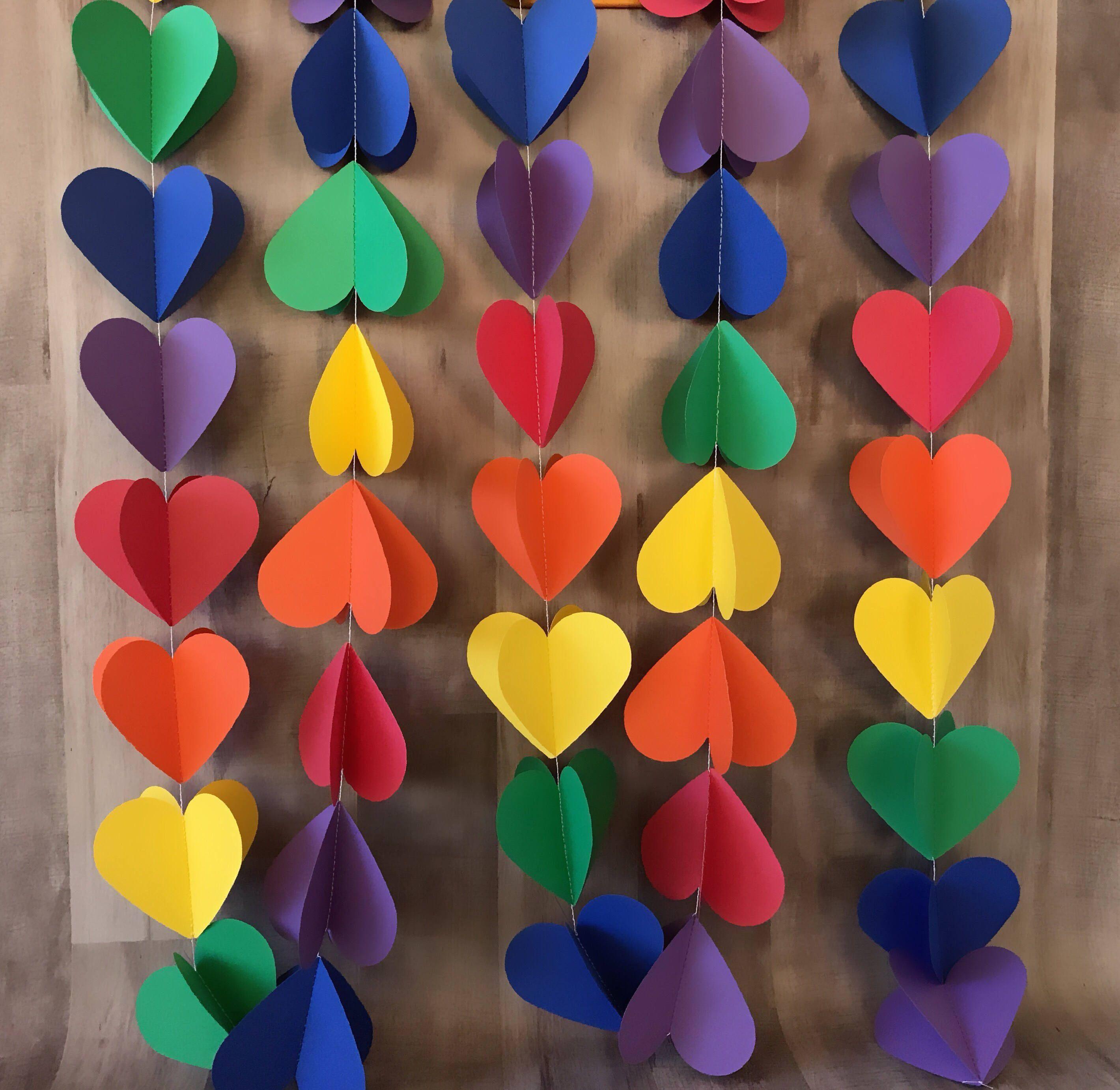 3d Rainbow Heart Garland Birthday Party Rainbow Heart Bunting