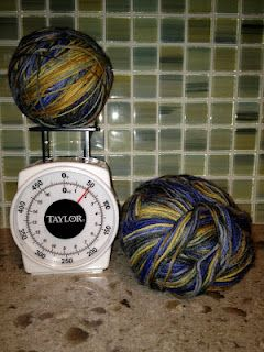 Use a food scale to divide a skein in half.