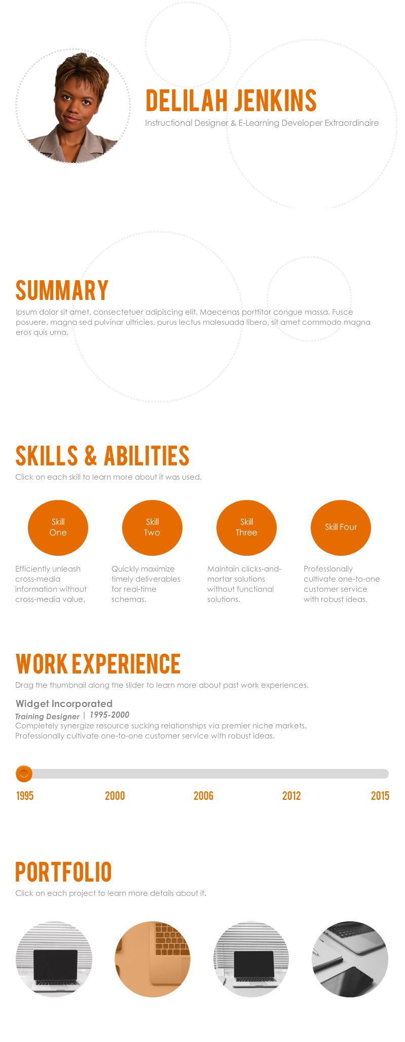 Interactive resume template elearning templates