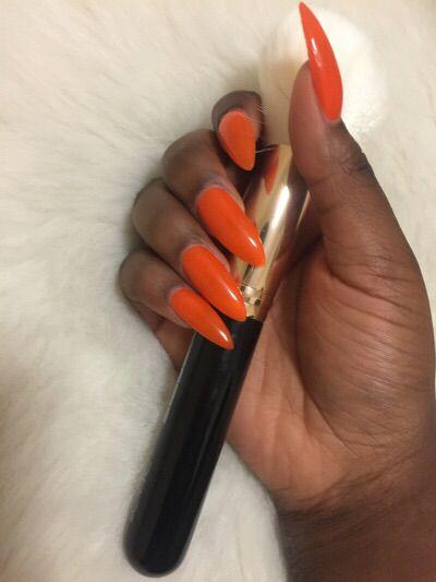Orange Always Looks So Good On Darkskin Orange Nails Orange Nail Art Nails