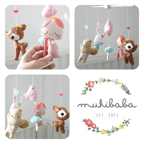 baby crib mobile princess baby mobile girl woodland by mukibaba baby crib mobile woodland. Black Bedroom Furniture Sets. Home Design Ideas