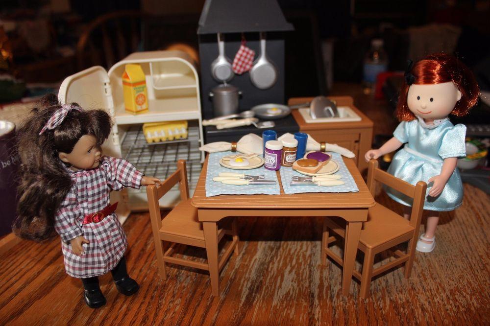 Diva American Girl Madeline Dollhouse Table Fridge Sink Complete accessory food #Eden #HousesFurniture