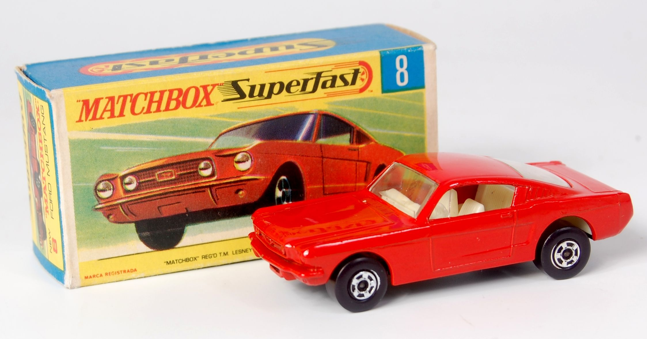 Lot 2333 matchbox superfast no 8 ford mustang orange red body ivory interior mbg
