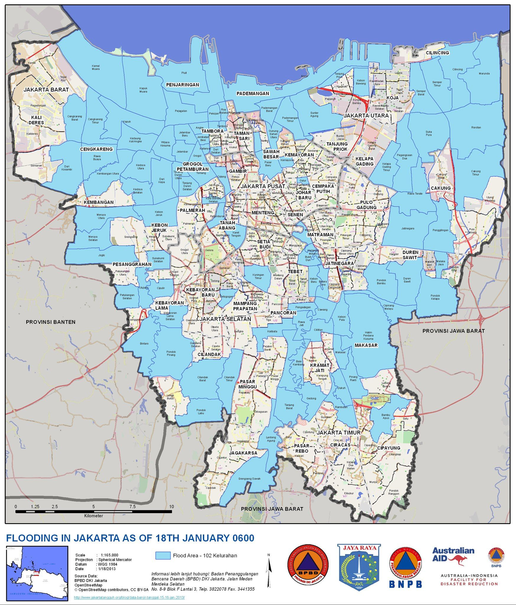 A map of Fridays flooded areas in Jakarta 1182013 httpwww