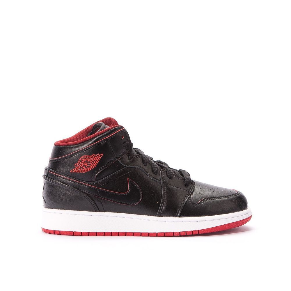 45fc7523031c8f Nike Boys  Air Jordan 1 MID BG Basketball Shoes 554725 028 Black White Red   Nike  BasketballShoes
