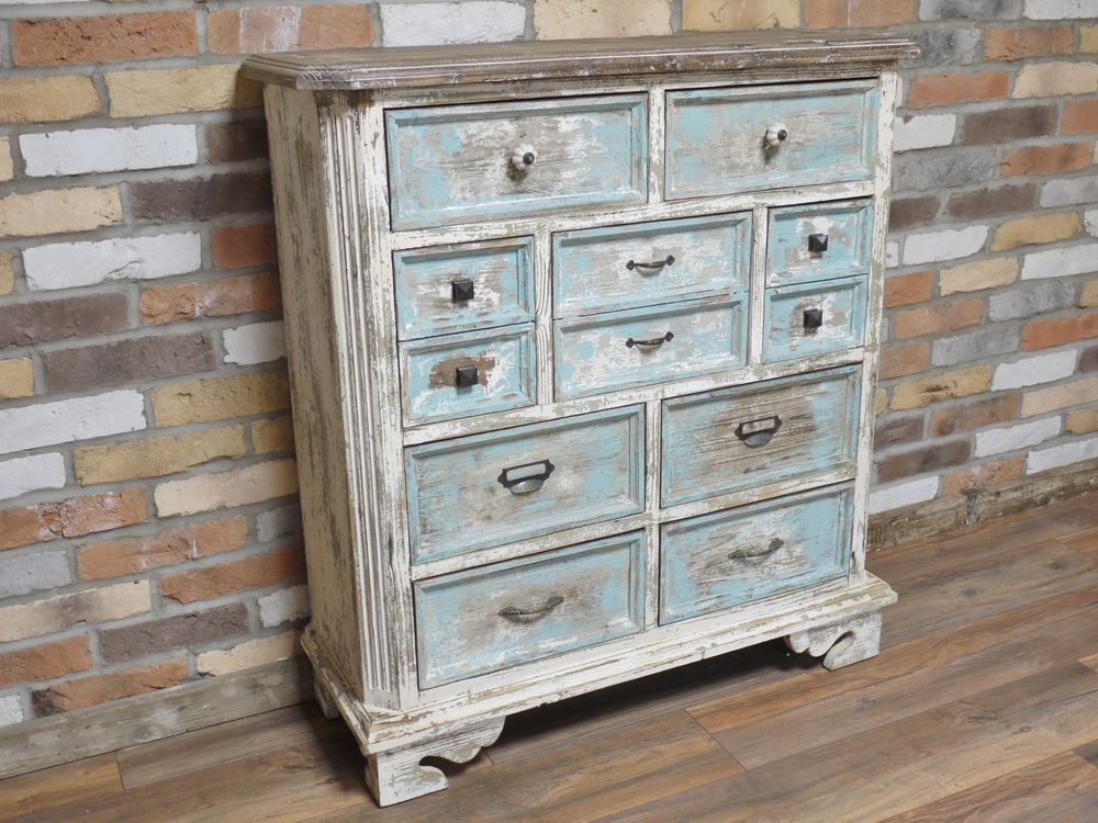 Best New Rustic Painted Multi 7 Drawer Chest Of Drawers 400 x 300