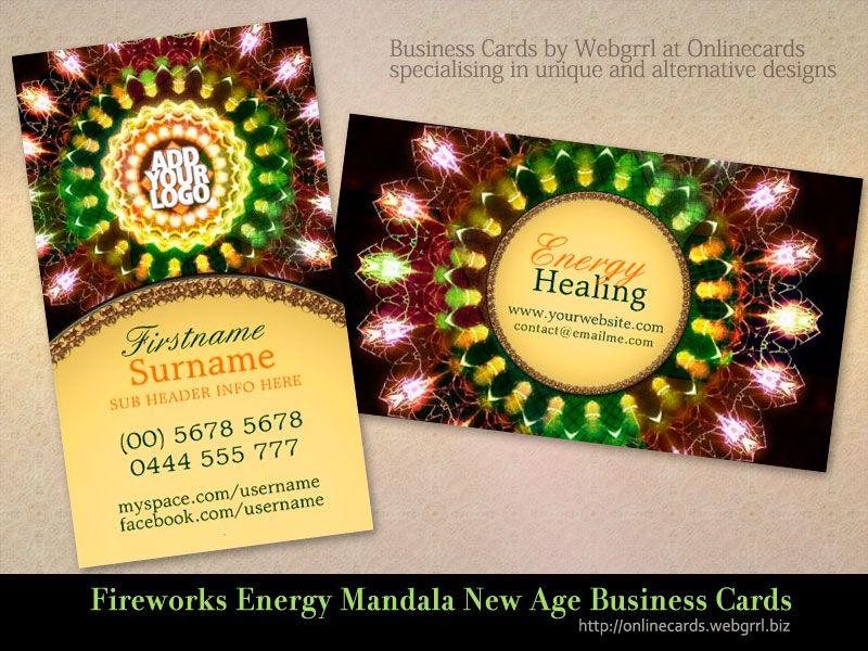 Fireworks Energy Mandala New Age Business Cards Cards Business Card Template New Age