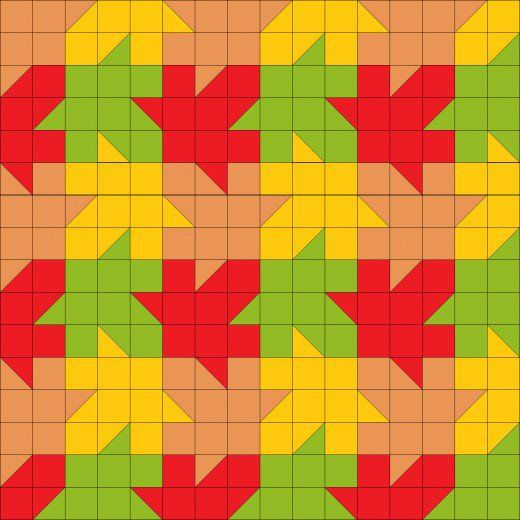 Tessellating maple leaf quilt pattern using only squares & 1/2 ... : tessellation quilt blocks - Adamdwight.com