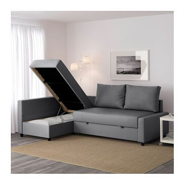 FRIHETEN Corner sofa-bed with storage Skiftebo dark grey ...