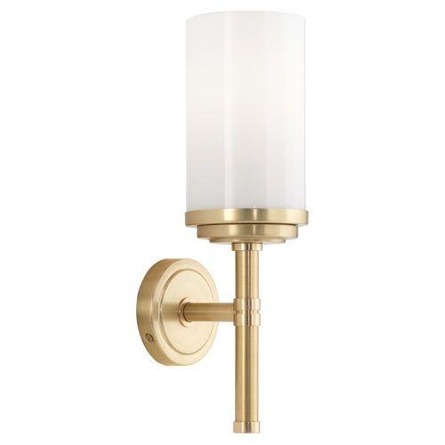 Bathroom SconceHalo Single Sconce Polished Brass Accents By Robert - Polished brass bathroom sconces