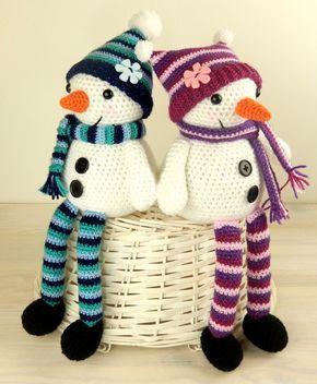 Mr & Mrs Snow with Christmas Tree Gift Bag - Amigurumi Crochet Pattern #crochetelements