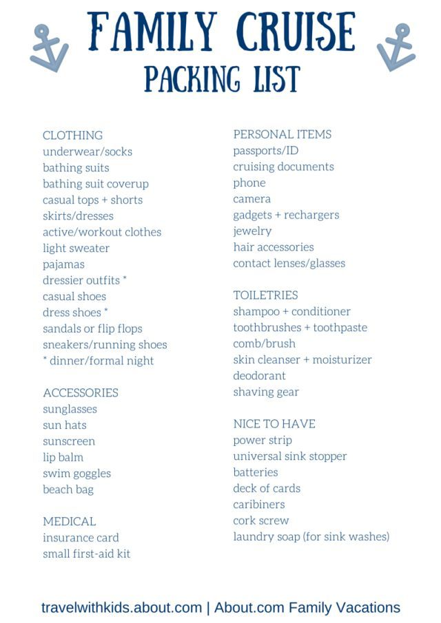 Free Printable Packing List For Family Cruise Vacations  Cruise