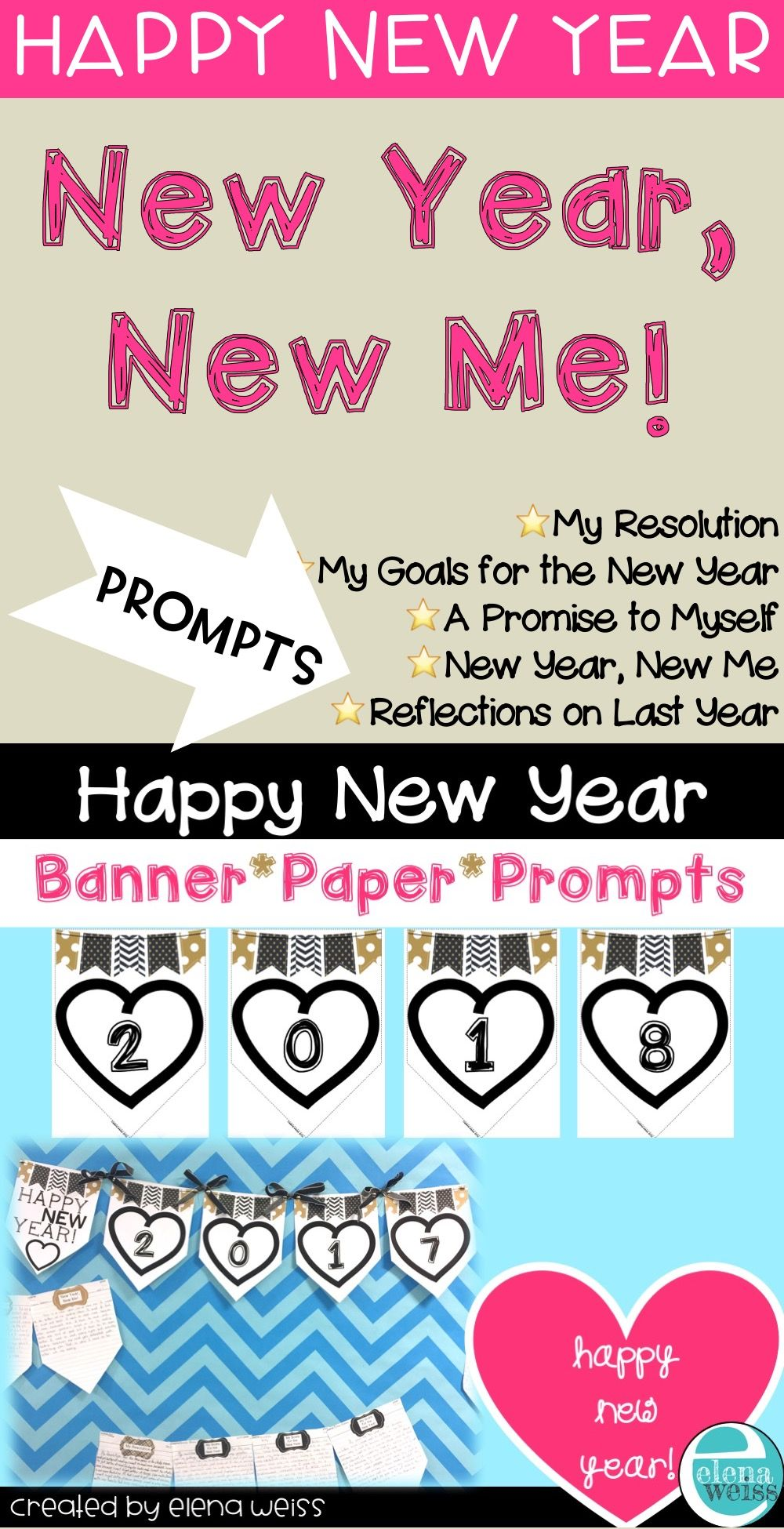 new year writing prompts banner and paper perfect january bulletin board all digits