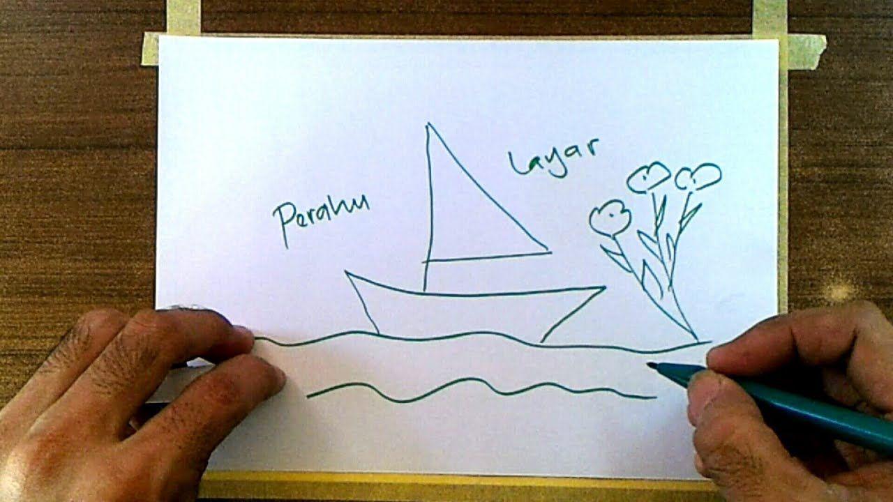 Cara Menggambar Pemandangan Laut Perahu Layar Gambar44 Cara Menggambar Perahu Layar Perahu
