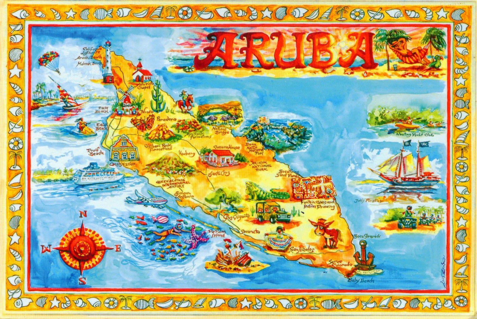 Aruba Karte Karibik.Aruba Map Pacific Caribbean Islands Karten