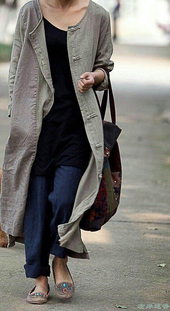 long line linen tunic coat | Fashion | Pinterest | Nähmuster, Mäntel ...