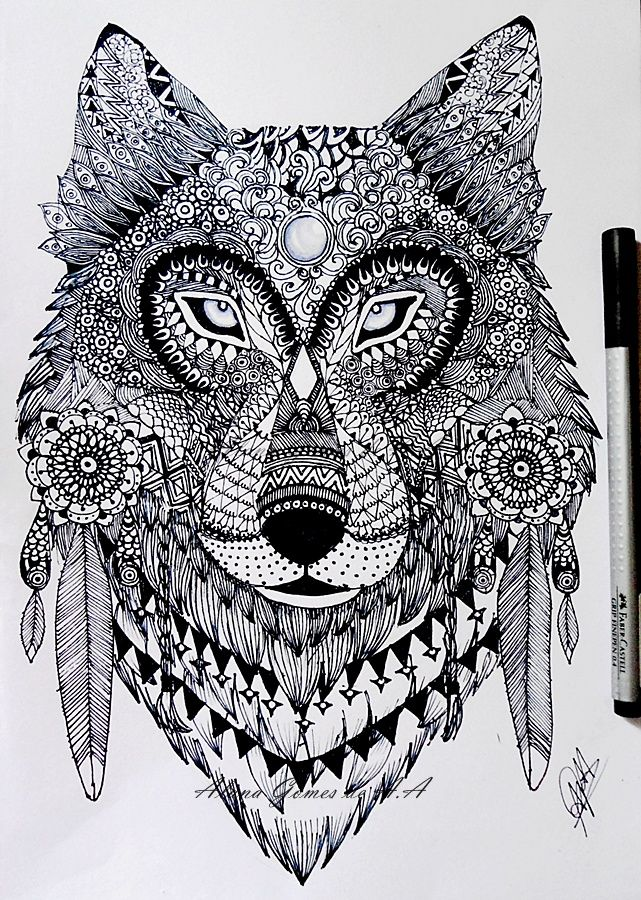 Zentangle Wolf By Itsalana On Deviantart Animal Drawings Animal Coloring Pages Drawings