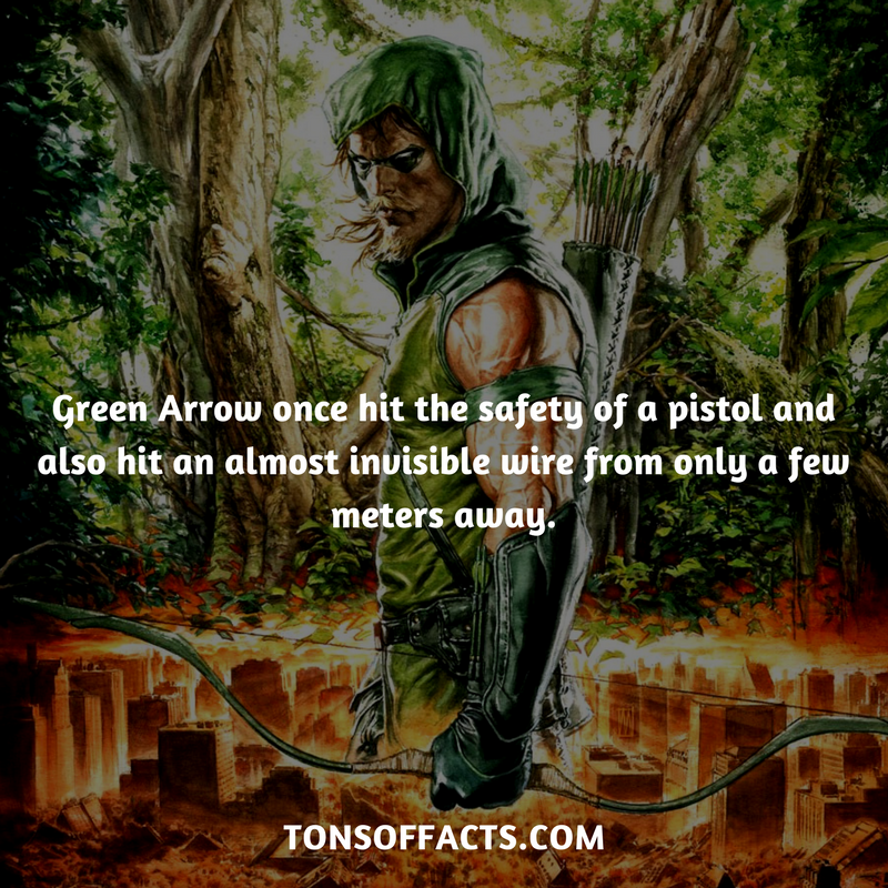 green arrow once hit the safety of a pistol and also hit an almost