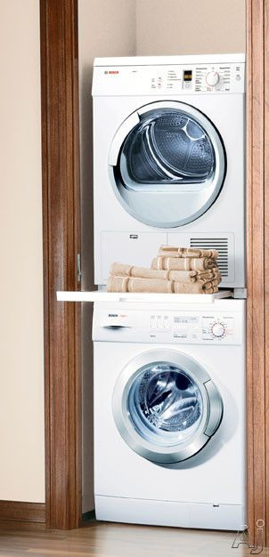 Bosch Axxis Series Wtz11300uc Stacking Kit With Pull Out Tray Laundry Room Storage Stackable Laundry Laundry Closet
