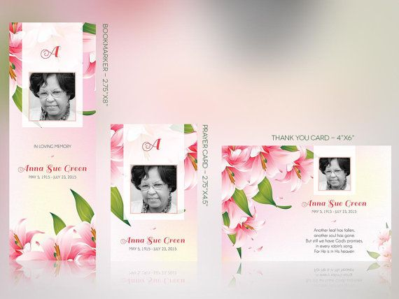 Petals Funeral Stationery Template Set - Publisher | Funeral Program ...